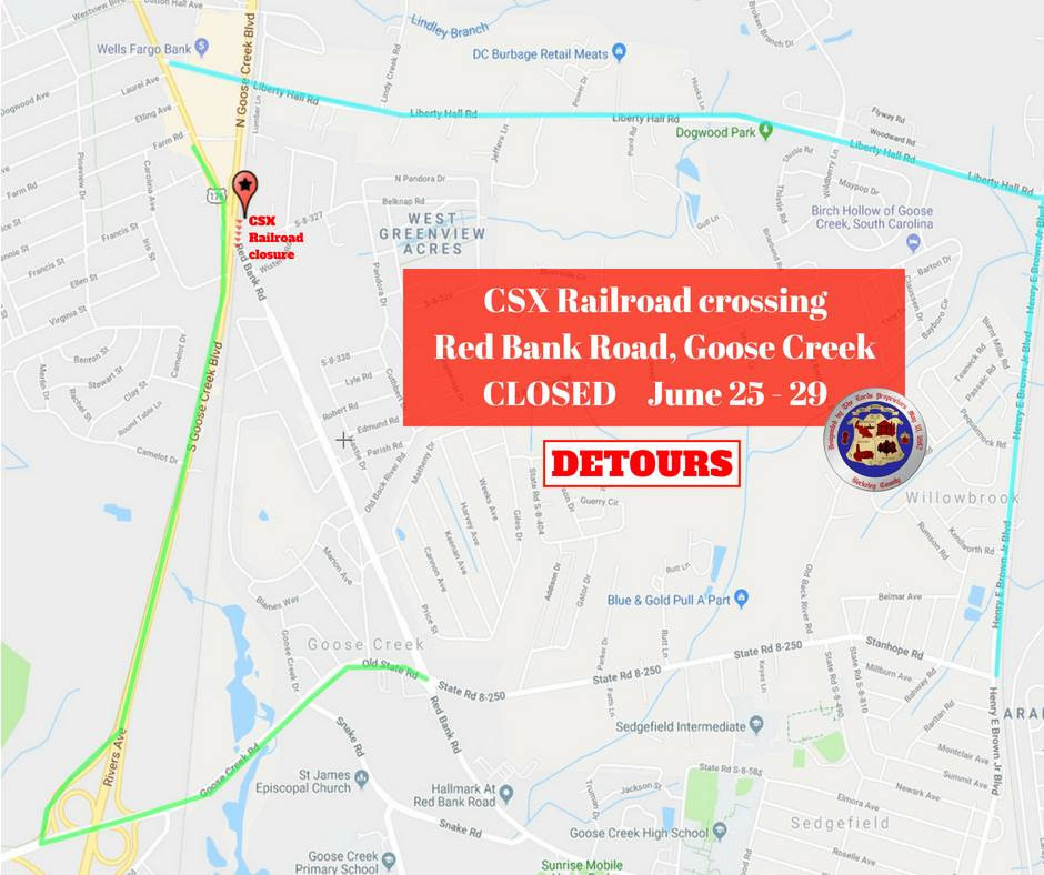 CSX to close railroad crossing on Red Bank Road June 25-29