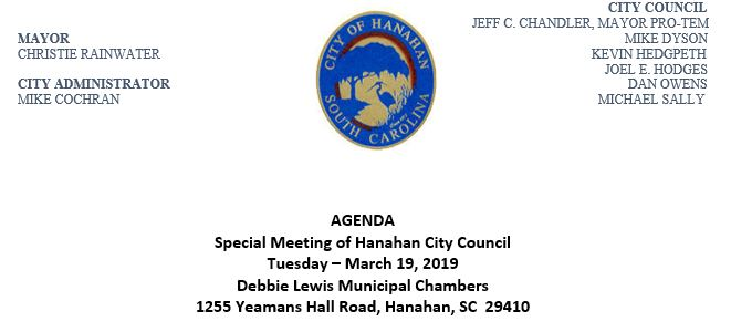 City Council Special Meeting Agenda - March 19th, 2019