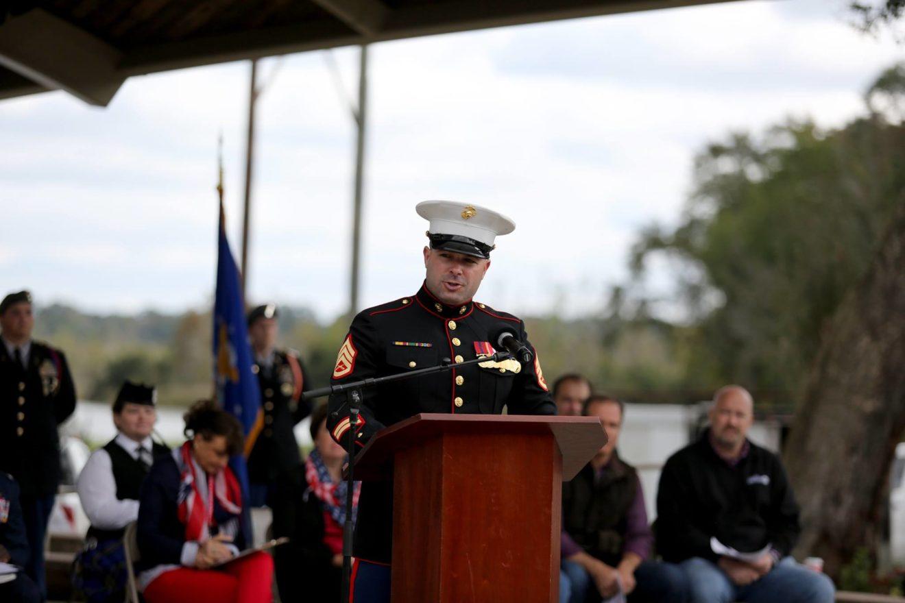Marine in uniform giving a speech