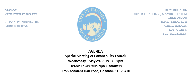 Special City Council Meeting - May 29th, 2019 - Agenda
