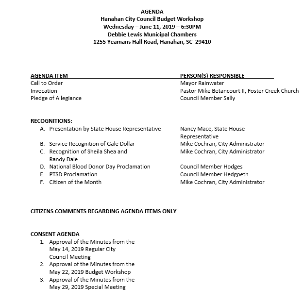 June 11, 2019 - City Council Meeting Agenda