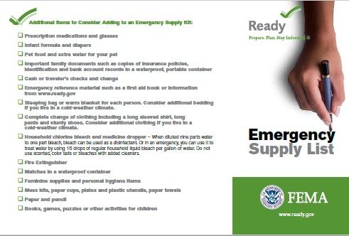 FEMA Emergency Supply Checklist