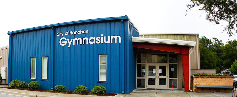 Picture of a blue building with the words City of Hanahan Gymnasium on the front
