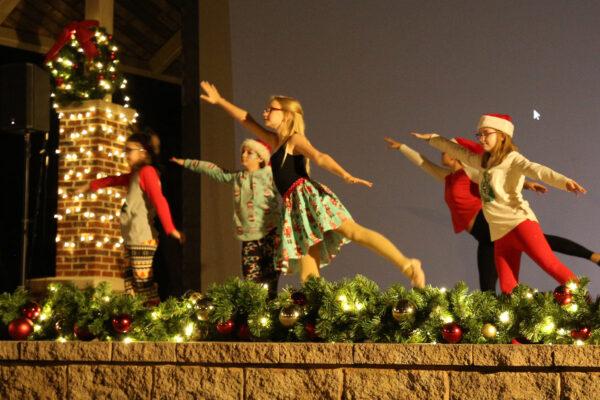 Children doing ballet on stage