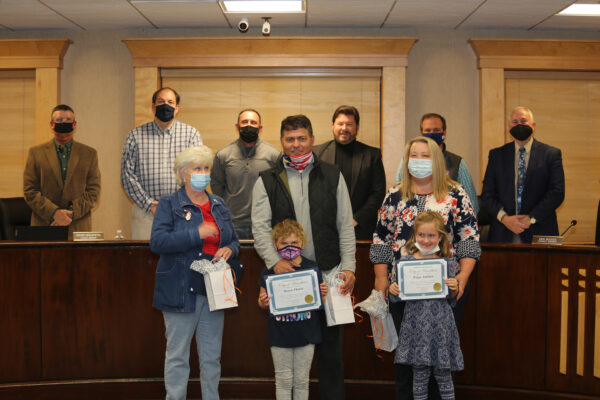 Hanahan citizens of the month and their families