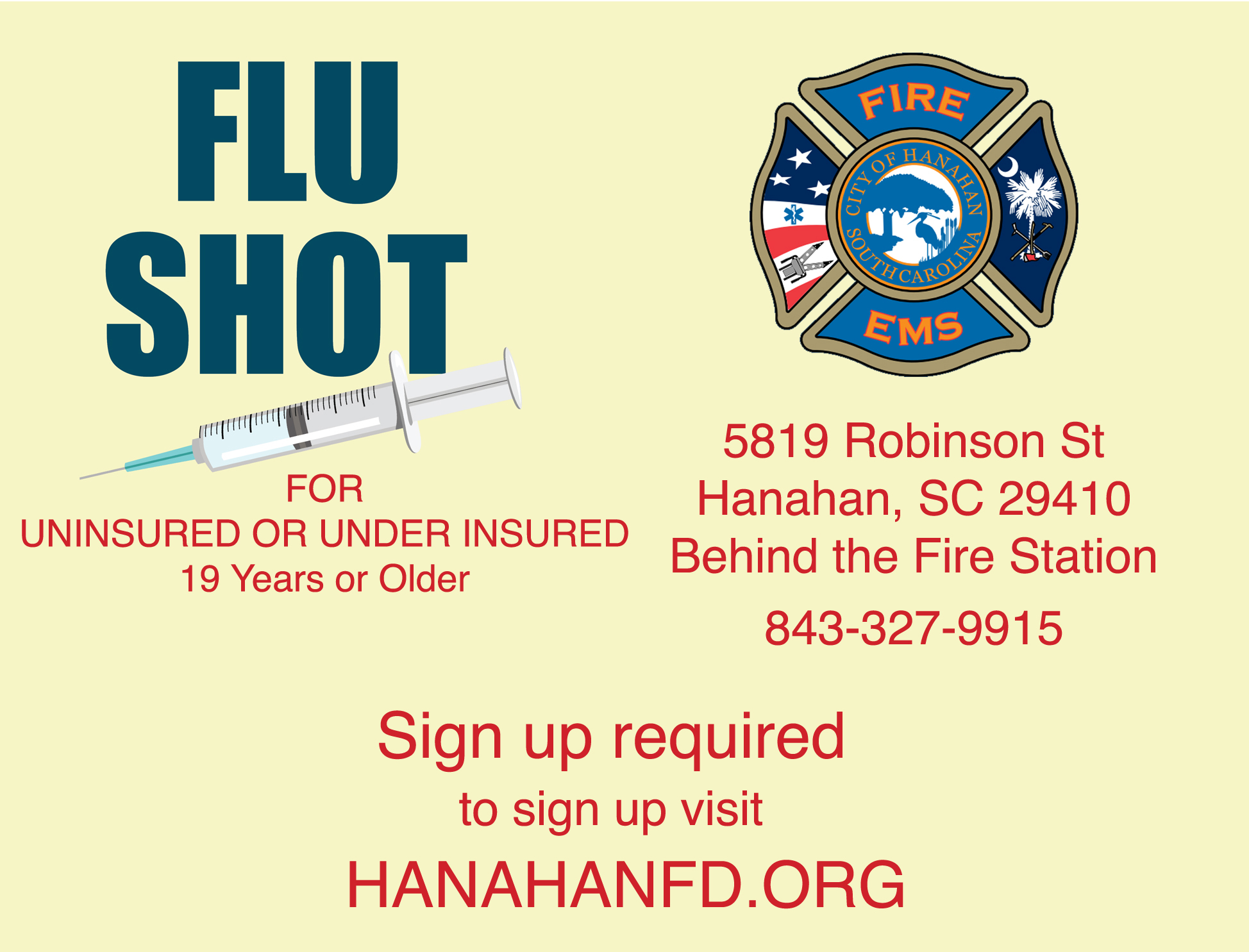 Flue Shots available