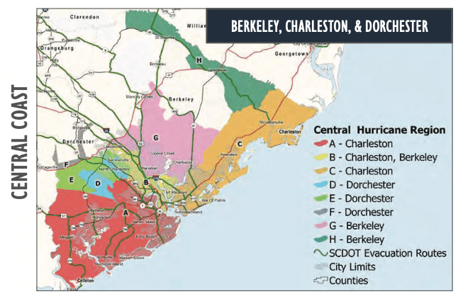 Map of South Carolina showing hurricane zones by color codes